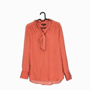 Dalia Vintage Inspired Tie Neck Orange Dot Blouse